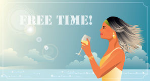 Woman with a glass of wine on holiday Stock Images