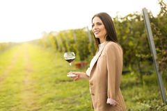 Woman with glass of wine in vineyard. Vintner woman check red wine in a vineyard Royalty Free Stock Image