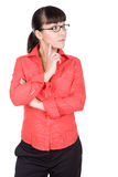 Woman with glasses. Young adult woman with glasses . over white background royalty free stock photos