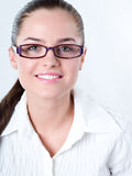 Woman in glasses. Brown hair Royalty Free Stock Image