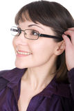 Woman with glasses. Young adult brunette woman with glasses over white background Stock Photos