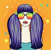 Woman in glasses. Vector illustration of woman with tails and glasses on orange background Royalty Free Stock Photos