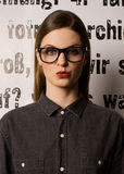 Young woman large glasses Stock Photos