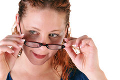 Woman and glasses Royalty Free Stock Photography