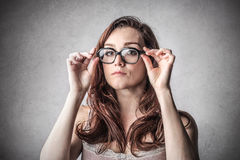 Woman with glasses Stock Images