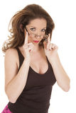 Woman glasses black top hands up Stock Photo