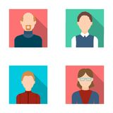 A woman in glasses. A blond teenager, a young man, a bald man with a beard.Avatar set collection icons in flat style Royalty Free Stock Image