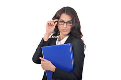 Woman in glasses and with a blue folder Stock Images