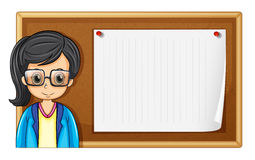 Woman with glasses and board Royalty Free Stock Photography