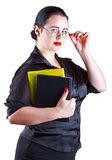 The woman in glasses with books Stock Photography