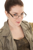 Woman Glasses Close Slight Smile Stock Photos
