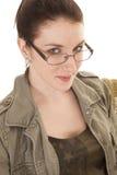 Woman glasses close slight smile Stock Photos