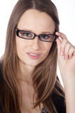 Woman with glasses close up Stock Image