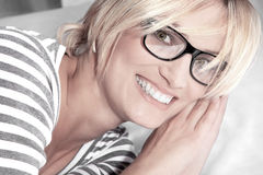 Woman with glasses close up Stock Photo