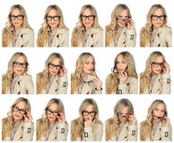 Woman with glasses expressions Royalty Free Stock Image