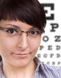 Woman, glasses, eye chart. At the Optician Royalty Free Stock Photos