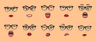 Woman with glasses facial expressions, gestures, emotions happiness surprise disgust sadness rapture disappointment fear. Surprise joy smile despondency. Vector vector illustration