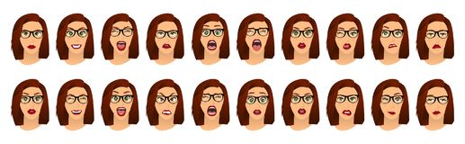 Woman with glasses facial expressions, gestures, emotions happiness surprise disgust sadness rapture disappointment fear. Surprise joy smile despondency. Vector royalty free illustration