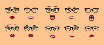 Woman with glasses facial expressions, gestures, emotions happiness surprise disgust sadness rapture disappointment fear royalty free illustration