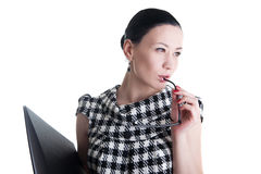 A woman with glasses and folder Stock Photos