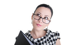 A woman with glasses and folder dreaming Royalty Free Stock Photos