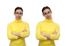 Woman glasses hands crossed chest isolated white Stock Photography