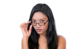 Woman with glasses on her face Stock Image