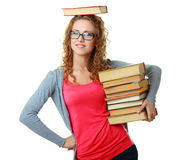 Woman in glasses holding books Stock Photography