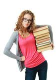 Woman in glasses holding books Royalty Free Stock Photo