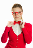 Woman with glasses holding bowtie Royalty Free Stock Images
