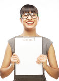 Woman with glasses holding clipboard Stock Photos