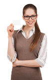 Woman in glasses holding a plastic card Stock Photos
