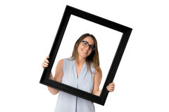 Woman with glasses inside black frame Stock Images