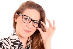 Woman in glasses isolated Royalty Free Stock Photo