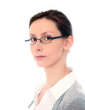 Woman glasses isolated white Stock Images