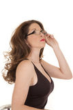 Woman Glasses Look Up Black Tank Royalty Free Stock Image
