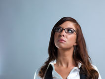 Woman in Glasses Looking up Stock Image