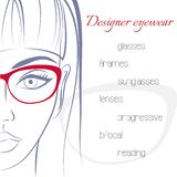 Woman in glasses. Optician consept. Stylish. Glasses and lenses advertising banner. Minimalistic style. Outline Stock Image