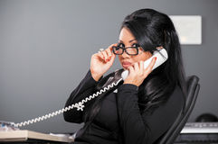 Woman glasses phone royalty free stock photography