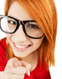 Woman in glasses pointing finger Royalty Free Stock Photo
