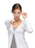 Woman in glasses pointing hand gestures Royalty Free Stock Photo