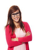 Woman with glasses. Portrait of smiling woman with fashion glasses Stock Image