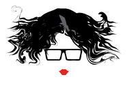 Woman in glasses portraite. Vector image of graphic woman with glasses and red lips Royalty Free Stock Photos