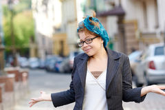 Woman in glasses posing artistically for fun Royalty Free Stock Photography