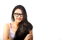 Woman in Glasses. A pretty Asian woman in glasses confident Stock Photo