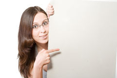 Woman in glasses with sheet of paper Royalty Free Stock Photos