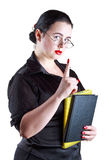 The woman in glasses show up index finger Stock Image