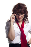 Woman with Glasses and Tie Royalty Free Stock Photography
