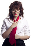Woman with Glasses and Tie Stock Photography