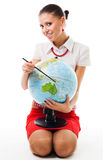 Woman with globe Stock Photo